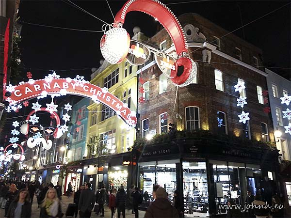 Carnaby Street Christmas lights 2014, London W1