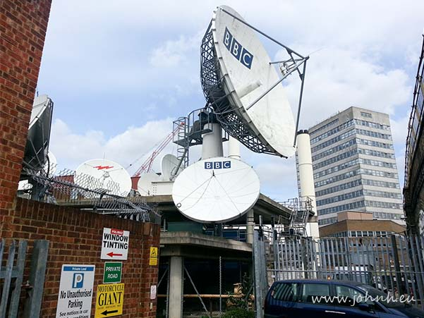 Satellite dishes at the old BBC Television Centre in London W12