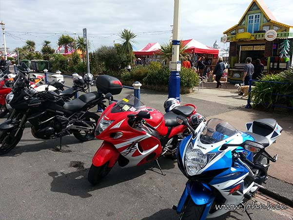 Motorbikes parked on Eastbourne seafront on May bank holiday Monday, 2015