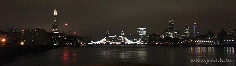 My photo postcard of Tower Bridge and The Shard building from Bermondsey Wall, London
