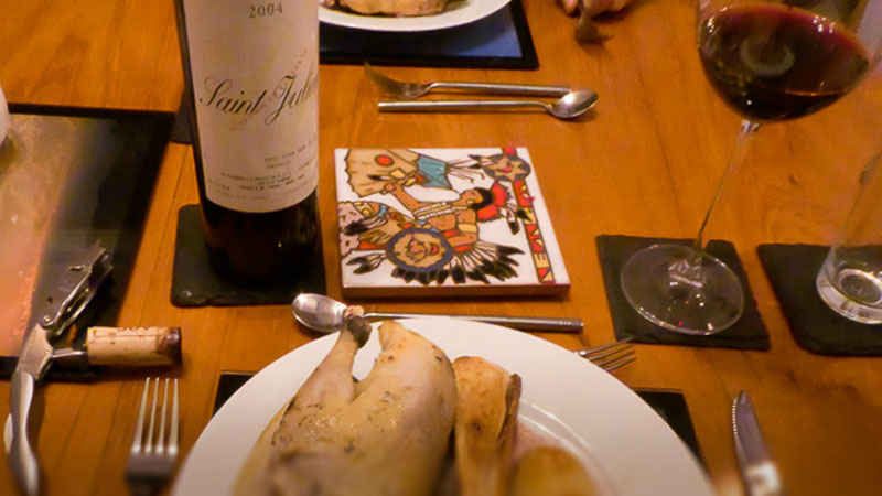 2004 Saint Julien with roast pheasnt