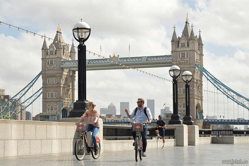 London cyclists at Tower Bridge, London