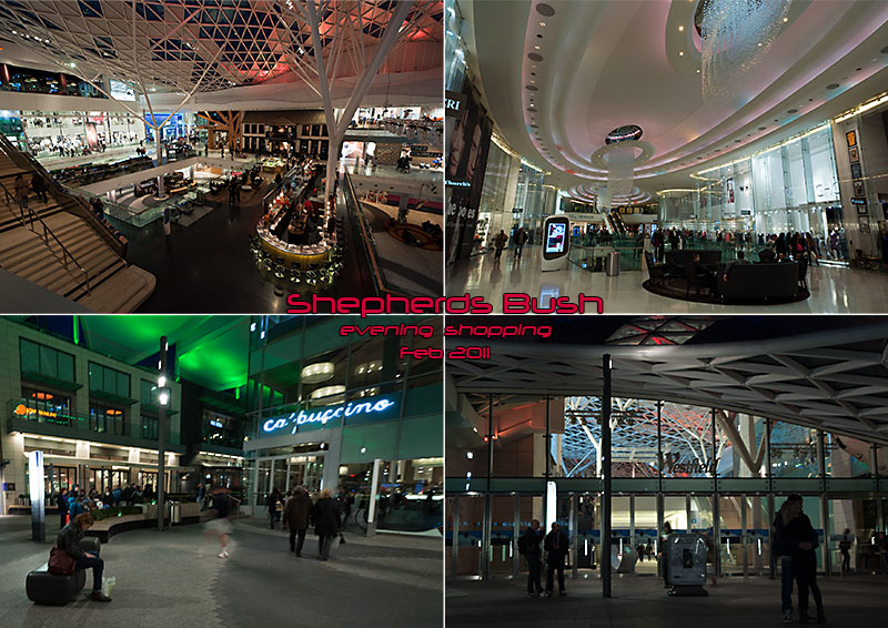 Evening shopping at Westfield shopping centre, West London